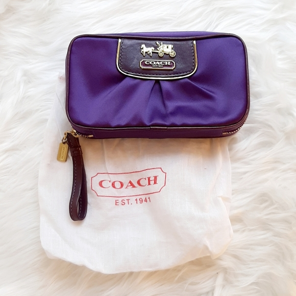 Coach Handbags - COACH NWT! Purple Satin and leather jewelry pouch